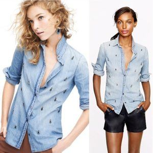 J. Crew Collection Boy Shirt in Beaded Chambray 0
